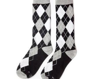 Groomsmen Grey, Black and White Argyle Socks/Wedding Day Socks/Groomsmen Gifts/Groomsmen Proposal Idea/Colorful Dress Socks