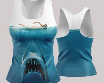 Jaws Racerback | Tank Top | Womens Tank | Gym Shirt | Work Out Tank | Gym Gear | Yoga Top | Yoga Shirt | Work Out Top| Plus Sizes | XS-5X