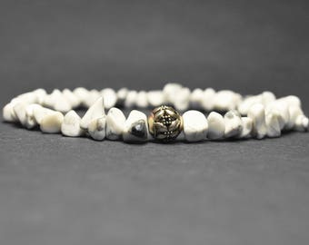 "Beautiful Natural White Turquoise Beads Bracelet |  Stretch Turquoise Beads Bracelet| Elastic Rough Turquoise Bracelet |  7"""