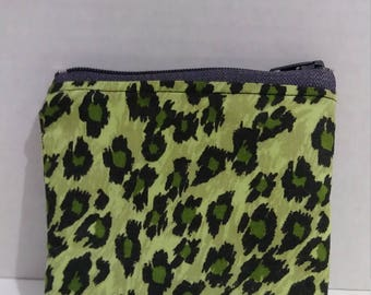 Green & black animal print coin purse