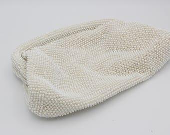 Vintage White Lumured Beaded Clutch Bag