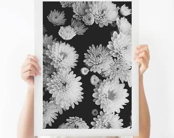 Flowers Print, Printable Flowers, Art Print, Flowers Art Decor, Black and white print, Black and White flowers print Modern Wall Print
