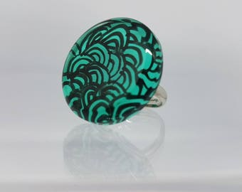Unique ring, painted and polished by hand