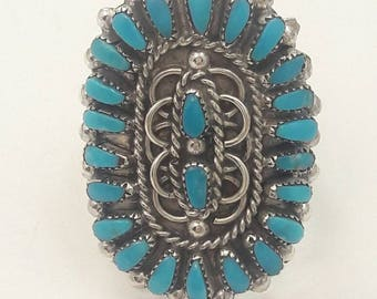 Vintage Native American Zuni Handmade Sterling Silver Turquoise Cluster Ring