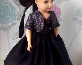 18 inch Miss Revlon doll dress. Black, full skirt dress, with matching hat and intricate patterned bolero .