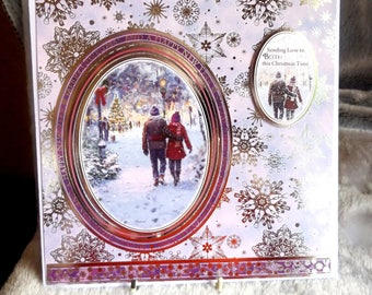 "Merry Christmas & A Happy New Year Card, Couple walking in snow, Happy Holiday Happy New Year Card, 3d layered card, size 8"" by 8"""
