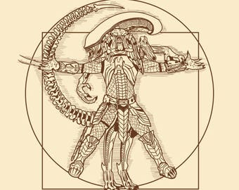 Vitruvian Hunters T-shirt / Alien Vs Predator Tee / Xenomorph / Sci-fi / Horror Movies /  Leonardo / Free Shipping worldwide
