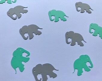 Mint and Grey Elephant Confetti - Mint and Grey Baby Shower Decor - Elephant Baby Shower Decor - Elephant Birthday Party Decor - Mint Decor