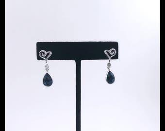 Indicolite Swarovski Heart Earrings, Deep Blue Swarovski Earrings with Heart and tiny crystals.