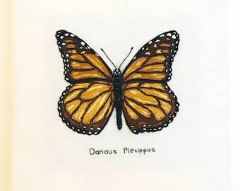 Monarch Butterfly Hand Embroidery Wall Art 10x10