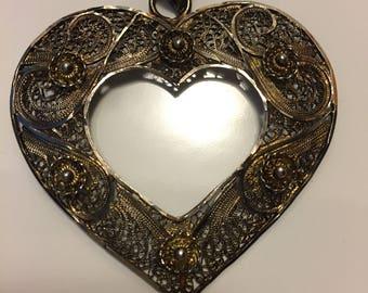Vintage Lacework Heart Pendant, Sterling Silver