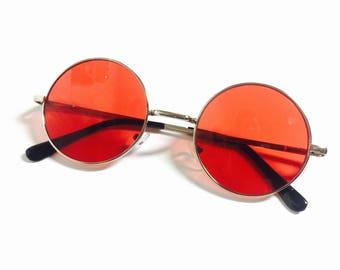 Red Lens John Lennon Circluar Tinted Infrared Round Frame Circle Sunglasses