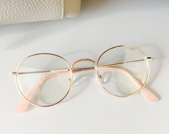 Round Gold Lunette Clear Lens Pantos Frame Retro Contemporary Transparent Glasses