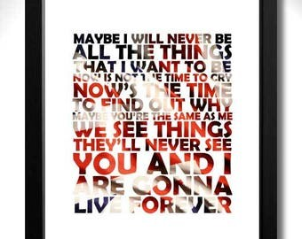 OASIS - Live Forever - 2nd verse - Limited Edition Unframed Art Print with Lyrics