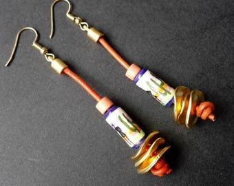 Ethnic Earrings | Peruvian Ceramic Earrings | Gold Plated Earrings | Tribal Earrings |  Boho  Earrings | Aztec Earrings | Leather Earrings