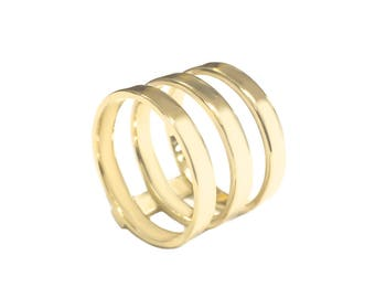 14k Triple Band Rings Rose White Yellow Band Gold Simple Ring Solid Triple Band Rings Women Jewelry