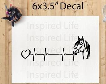 "Horse heartbeat Decal 6 x 3.5""/Vinyl Sticker/ Vinyl Decal/ Home Decor"