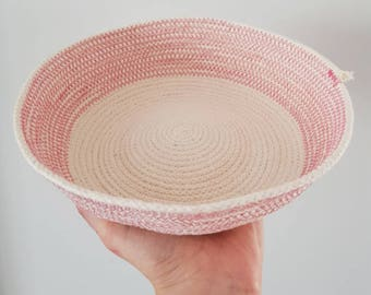 Large Rope Bowl Very Boho with Contrasting Stitches