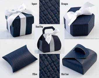Navy Blue Silk Wedding Favour Party Boxes DIY in packs of 10