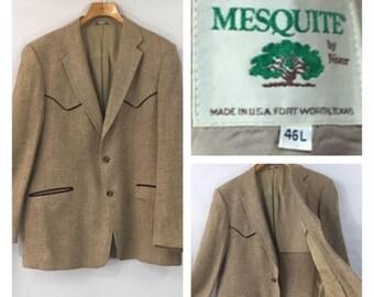 Western jacket blazer cowboy vintage ranch wear 70's 80's southwest cattle baron 46 L