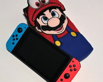 Mario and Cappy Nintendo Switch Case Super Mario Odyssey Gaming Accessory Embroidery