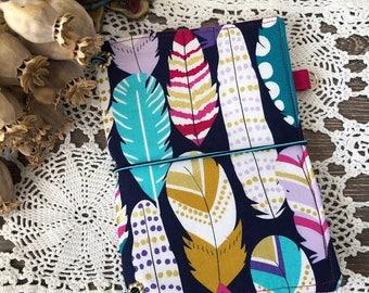 Fuchsia Feather Pocket Fabricdori Travelers Notebook