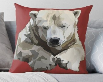 Red Cushion Polar Bear * Endangered Animal Pillow * Customizable Cushion Covers * Colourful Home Decor Pop Art White Bear Decorative Pillow