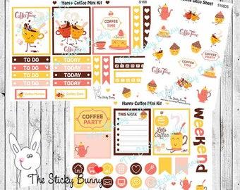 Happy Coffee 2-Page Mini Kit - Planner Stickers for Erin Condren, Happy Planner, Kikkik, Filofax (S168K)