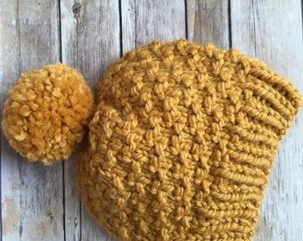 Slouchy Winter Pom Pom Hat