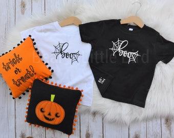 Kids BOO Halloween T-shirt black or white infant toddler