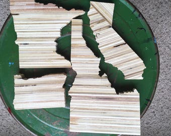 Idaho, Oregon, Minnesota, California recycled stacked plywood state cutouts for Rose M.