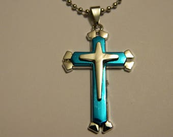 "Nice Blue-Tone Metal Cross Pendant & Chain Necklace 19"" #31"