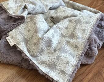 Baby Blanket; Baby Minky Blanket; Cream and Gray Baby Blanket