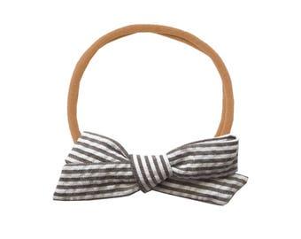 Seersucker Schoolgirl Bow or Pigtail Set /// Mocha Stripe