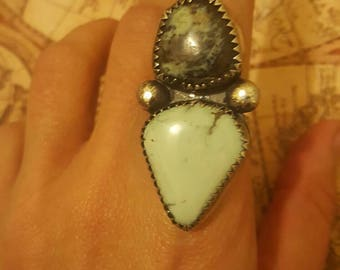 Double newlander turquoise sterling silver .925 ring sz 8
