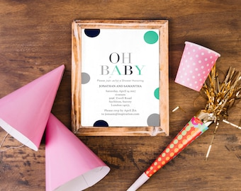 Baby Shower Invitation / Oh Baby / Baby Boy Shower / Baby Shower Invite / Baby Shower Printable / Dots invite