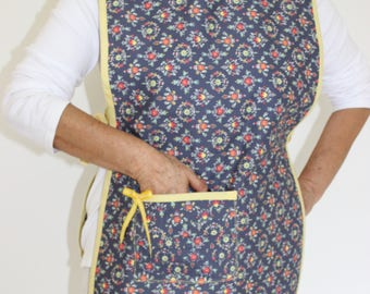 Blue and yellow flowery patten apron