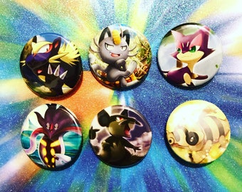 Choose Your Buttons - Set Of Six Dark Type Pokemon Buttons!
