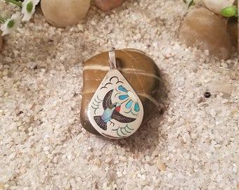 Zuni Inlay Hummingbird Pendant