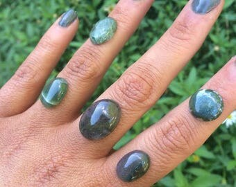 Sterling Silver Moss Agate Ring / Sterling Silver Ring / Green Moss Agate / Custom Moss Agate / Tree Agate Ring  / Green Agate Ring / Vegan