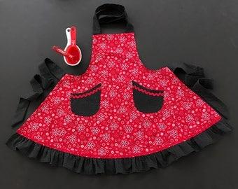 Girl's Apron, Red Bandana Apron, Little Girl's Red & Black Apron, Ruffled Apron for Girls, Girl's Size 7-8 Apron, Bandana Apron with Pockets