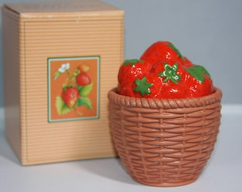 Mint with Box Vintage Avon 1985 Strawberry Summer Fruit Condiment Jar