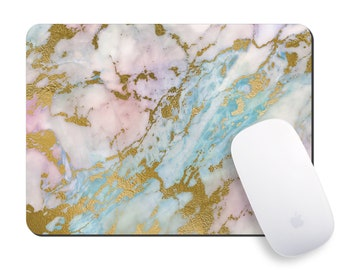 Office Mousepad, Pink Marbled Mouse Pad, Rectangle Mousepad, Round Faux Gold Marble Mouse Mat, Rose Gold Gift for Her, Desk Accessories