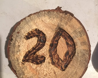 Hand burned table numbers