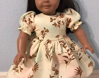 Sweet floral on watercolor floral dress for American Girl or Other 18 inch Doll
