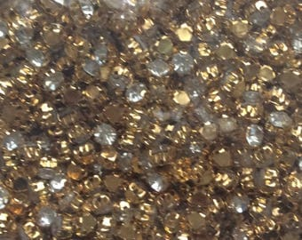 Set of 1440 rhinestones 3 tooth has sew Gold 5mm