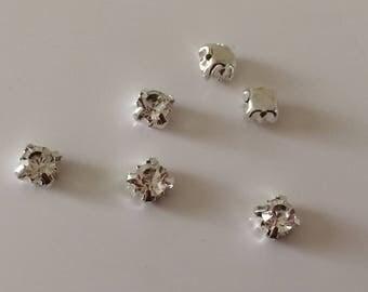 12 rhinestones sewing 6 mm silver Crystal