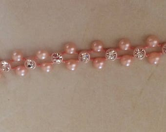 Ribbon and Pearl Pink crystal powder 1 cm width