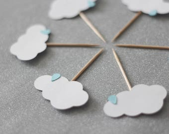 Cloud cupcake toppers, raindrop cupcake toppers, Cloud cupcake toppers, raindrop baby shower toppers, cupcakes, cardstock cupake toppers