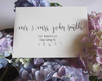 modern calligraphy wedding invitation addressing